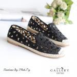 รองเท้าคัทชู งานปักลายดอกไม้ แต่งเชือกปอด้านหน้าเก๋ๆ หนังนิ่ม ทรงสวย สวมใส่ง่าย เดินเบาสบาย สี ดำ ครีมกากี