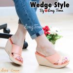 รองเท้าแฟชั่น สไตล์สวมงานส้นเตารีด หนังพียูนิ่ม คาดหน้าทรงกระชับ สวมใส่สบาย ทรงสวย สูง 3 นิ้ว
