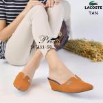 รองเท้าคัชชู Lacoste Wegged Style เปิดส้น หัวแหลม ด้านหน้าแต่ง Logo Lacoste ดีไซน์เก๋ๆ เรียบหรู ใส่แล้วเท้าเรียว เก็บทรงสวย ส้นสูง 2.5 นิ้ว ใส่สบาย