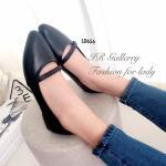 รองเท้าคัทชู ส้นแบน สวยเก๋ หนังนิ่ม แต่งหนังวิ้งๆ คาดหน้าอย่างมีสไตล์ ดีไซน์หัวแหลม ทรงสวย ใส่ง่าย ส้นหนา 1 ซม. mix and match ได้เก๋ทุก ชุด สีดำ เทา (LD656)