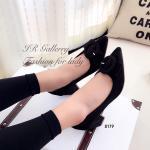 รองเท้าคัทชู ส้นเตี้ย สวยเก๋ วัสดุหนังกลับแต่งดีเทลหัวเข็มขัดเก๋ไก๋ ส้นสูง 2.5 นิ้ว ดีไซน์สวยชิค ใส่สวยดูดี สีดำ ม่วง (8179)