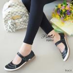 รองเท้าคัทชูสีดำ สไตล์ญี่ปุ่น วัสดุหนังพียู ดีเทลขอบสีขาว เพิ่มความน่ารักด้วย สายคาดแบบเมจิกเทป หน้าปักลายเส้นสีขาว พื้นบุบนวมนุ่มเท้า งานน่ารัก ใส่ กระชับ สวมสบาย แมทง่าย ใส่ได้ทุกโอกาส สูง 1 นิ้ว