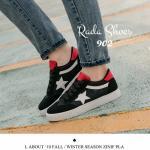 รองเท้าผ้าใบ ดีไซน์แนว Sport Vintage Style แต่งลายกราฟฟิคดาว หัวรองเท้า ฉลุลายด้านหน้า วัสดุผ้า Canvas หนาอย่างดี ออกแนวเซอร์ ฮิปเตอร์เท่ห์ๆ