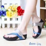 รองเท้าแตะเพื่อสุขภาพ สไตล์ลำลอง ดีไซน์คาดเฉียงสวยเก๋ หนังดีนิ้ม ใส่สบาย เสริมพื้น 1 นิ้ว พื้นแบบคอมฟอตนิ่มสบายเท้า ใส่ได้ทุกวัน
