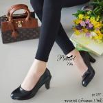 รองเท้าคัทชู สีดำ สวยสุภาพเรียบร้อย หน้าเรียว วัสดุพียูเงาเกรดดี นุ่ม น้ำหนักเบา แมทง่าย ใส่ออกงานได้ เรียบหรู ดูแพง ใส่ได้ทุกโอกาส สูง 2.5 นิ้ว