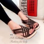 รองเท้าแฟชั่น ส้นเตารีด แบบสวม สวยเก๋ ดีไซน์ถักเปียสานไขว้แต่งอะไหล่เก๋ๆ ด้านหน้า สายรัดส้นยางยืดกระชับเท้า ส้นเตารีดลายไม้สูง 3 นิ้ว งานสวยมากๆ ใส่สวย สีดำ ครีม