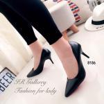 รองเท้าคัทชู สีดำ เรียบหรู หนังพียูนิ่มคุณภาพพรีเมี่ยม หนังนิ่ม ทรงสวย ใส่แล้วรับเท้า ส้นสูง 3.5 นิ้ว แบบเรียบ สุดคลาสสิค แมทสวยได้ทุกชุด (8186)