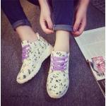 """รองเท้าผ้าใบ PASTEL SWEET CANVAS SHOES วัสดุผ้าแคนวาสเนื้อหนานุ่ม สกรีนลายดอกไม้ แต่งเชือก พร้อมบุผ้าด้านในโทนสีพาสเทลสวยงาม แนวน่ารัก สดใสหวานๆ พื้นยางหนา 1"""" กันลื่นดีเยี่ยม ยืดหยุ่นสูง ใส่สบาย ใส่เที่ยว ใส่ออก กำลังกายได้คู่เดียวจบ สี ม่วง ชมพู"""