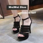 รองเท้าส้นสูง สวยโดดเด่น ด้วยหนังผ้ากำมะหยี่ ใส่หรู ทรงสวมเก็บหน้าเท้าเรียว เสริมส้นหน้า1.5 นิ้ว ส้นเข็ม 5 นิ้ว สวยเป๊ะมาก
