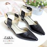 รองเท้าคัทชู STYLE ZARA ส้นเตี้ย ที่เห็นแล้ว Like เลย ใส่แล้วเท้าดูเรียวสวย หนังนิ่มลายเกร๋ ๆ สายปรับได้ มาพร้อมพื้นตีแบรนด์ ZARA สูง 2 นิ้ว