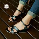 รองเท้าแฟชั่น แบบสวม ส้นเตารีด สวยเรียบหรู หนังอย่างดี คาดหน้า H สไตล์ แบรนด์ มีสายรัดข้อแบบเกี่ยว ปรับสั้น-ยาวได้ โทนสีเบสิคแมทซ์เข้าชุดง่าย ดูดี มาก สูง 2.5 นิ้ว สีดำ