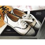 รองเท้าคัทชู Vintage Shoes ลำลองทรงผ้าใบ สวยเก๋มีสไตล์ วัสดุเป็นแคนวาส สีทูโทน ตัดเส้นสีดำทำให้ดูโดดเด่น เย็บขอบด้วยคิวปอ น้ำหนักเบา สวมสบาย สไตล์ casual แมทง่ายกับทุกการแต่งตัว สีฟ้า ครีม (188653)