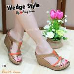 """รองเท้าส้นเตารีด แบบสวมเปิดส้นสี two tone สไตล์ Wedge shoe งานขายดี วัสดุจากหนัง Polyester based pu สวมง่ายใส่สบาย Match ได้กับหลายชุด สูง 3"""" เสริมหน้า ใส่สบาย"""