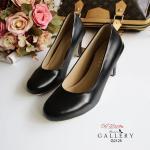 รองเท้าคัชชู ส้นสูง สีดำ หนัง PU นิ่มเรียบหรู สุภาพ ดูดี ทรงเก็บหน้า เท้าดี ดูเท้าเรียว แมทได้ทุกชุด สูง 3 นิ้ว (G2125)