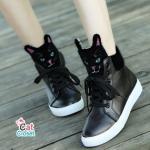 รองเท้าผ้าใบแฟชั่น สไตล์เกาหลี แต่งรูปหน้าแมวสุดเก๋ น่ารักมาก ๆ วัสดุ หนัง PU อย่างดี เช็ดง่าย ใส่สบาย สวยเก๋ไม่ซ้ำใคร