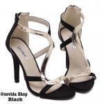 รองเท้าส้นสูง ดีไซน์สวยปราดเปรียว หนังผ้าตัดคาดหน้าตัว S หนังเงาหรู ซิปหลังใส่ง่าย ส้นสุง 4.5 นิ้ว ใส่ดูเก๋ เริ่ดมาก