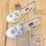 รองเท้าผ้าใบ ส้นแบน แนววินเทจ งานนำเข้า style korea แบบใหม่ 2016 ฮิตมาก พิมพ์ลายกุหลาบน่ารัก ใส่สบายเท้า สีขาว ดำ
