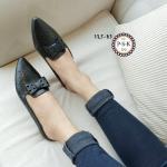 รองเท้าคัทชู เปิดส้น ทรงหัวแหลมฉลุลายทั้งตัวอย่างสวยงาม ติดโบว์พับฉลุลาย ด้านหน้า ใส่โปร่งสบาย ได้ทั้งวันงานสวยสไตลแฮนด์เมด สีดำ ครีม น้ำตาล