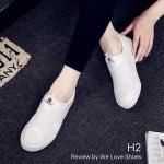 รองเท้าผ้าใบแบบสวม สไตล์แบรนด์ รุ่น Superstar คาดหน้า X วัสดุผ้าแคนวาส ทรงกระชับเท้า พื้น Slip on กันลื่น รุ่นนี้กำลังฮิตติดเทรนกันเลย สีขาว