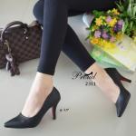รองเท้าคัทชู สไตล์ Prada ส้นสูง สีดำ หน้าเรียว เรียบหรู วัสดุพียูเกรดพีเมี่ยม เก็บหน้าเท้าไม่เห็นร่องนิ้ว ทรงสวย แพทเทิร์นแป๊ะ แมทง่ายใส่ได้ทุกโอกาส สูง 3.5 นิ้ว