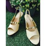 รองเท้าแฟชั่น คัชชูเปิดส้น แต่งแถบสีทองเรียบหรู ส้้นสูง 3 นิ้ว ใส่ได้ทุกโอกาส