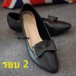 รองเท้าคัทชูสีดำ หัวแหลม เตารีดหน้าโบว์ ทรงสวยสุภาพ ใส่แล้วเท้าดูเรียวสวย ดูดีมีสไตล์ ไฮโซ สูง 1 นิ้ว