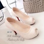 รองเท้าคัทชูส้นสูง วัสดุผ้าลายลูกไม้แบบเปิดหน้าเท้าสวยคลาสสิค ส้นสูง 4 นิ้ว เสริมหน้า 0.5 นิ้ว ใส่ได้หลากหลายโอกาส สีดำ ครีม