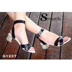 รองเท้าแฟชั่น New collection Miu Miu Style รัดข้อแบบใหม่ล่าสุด งานสวย ชนช็อป สายหน้าไขว้หนังนิ่ม สายรัดข้อปรับระดับได้ พื้นนิ่ม ส้นโลหะฝังเพชร สวยหรู สูง 2 นิ้ว น้ำหนักเบา แมทกับชุดไหนก็ง่าย เรียบหรูดูดี สไตล์แบรนด์