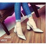 รองเท้าคัชชูส้นตันเหลี่ยม style Valentino 2016 หนัง PU ประดับปักหมุดทอง เหลือง เรียบเก๋ สุภาพ ดูดี คลาสสิค ทรงเก็บหน้าเท้าดี สีดำ ครีม สูง 3 นิ้ว