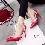 รองเท้าคัทชู ส้นสูง งานหรู สไตล์ Valentino วัสดุหนังแก้ว ตอกหมุดโลหะ แบบรัดข้อ ส้นเข็มสูง 3.5 นิ้ว ใส่ออกงาน ใส่เที่ยว สวยทุกชุด สีดำ แดง ขาว