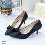 รองเท้าคัทชู ส้นสูง สวยหรู หัวแหลมเก็บหน้าเท้า แต่งโบว์สองชั้น และหนังกริตเตอร์ สูง 2.2 นิ้ว ใส่แล้วสวยสง่า สีดำ