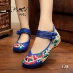 รองเท้าผ้าปักลายจีน ลายปักดอกไม้สวยงาม งานโดดเด่นด้วยผ้าสีสลับด้วยผ้าลายกระสอบ ด้านข้าง style 2 tone ส้นสูง 1 นิ้ว พื้นด้านในซับฟองน้ำ ด้านนอกเป็นผ้าทอแน่นเนื้อดี มี รัดข้อกลัดกระดุมจีน 2 เส้น ใส่สบาย แมทสวยได้ไม่เหมือนใคร