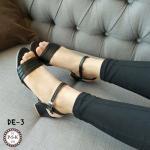 รองเท้าแฟชั่น สวม รัดส้น ดีไซน์เก๋แบบเปลือยเท้ามีสายรัดข้อแบบเกี่ยว ใส่ง่าย เสริมส้นเหลี่ยมสูง 2.5 นิ้ว แมทเก๋ได้ทุกชุด สีดำ ทอง