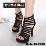 รองเท้าส้นสูง หุ้มข้อ ดีไซน์แถบเส้นสุดเปรี้ยว เก็บหน้าเท้าเรียว หนังผ้าสวยนิ่ม เสริมหน้า 1.5 นิ้ว ส้นเข็ม 5 นิ้ว ใส่สวยเริ่ดโดดเด่นเกินใคร