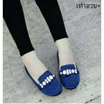 รองเท้าคัทชู ส้นเตี้ย สวยหรู ผ้าซาตินสีสดอิ่มสวย แต่งคลิสตัลเพชรด้าน หน้า งานเนี๊ยบ พื้นบุนวมฟองน้ำ เดินสบาย แมทสวยดูดีได้ทุกชุด สีม่วง น้ำเงิน เขียว แดง (SF550)