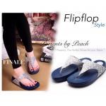 รองเท้าแตะ Flipflop Style เพื่อสุขภาพ ทรง Classic แบบหนีบใส่สวยดูดี หนัง Glitter วิ้งๆ เนื้อดี รับรองใส่สบาย สีเงิน
