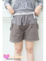 กางเกงคนท้อง กางเกงคลุมท้อง ขาสั้น ผ้าเสิช สีเทา