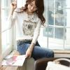 [พร้อมส่ง] เสื้อทำงานแฟชั่นเกาหลี คอกลม แขนยาว สีขาว - [In Stock] Women Korean Hitz Slim Round Neck Long-sleeve White Shirt
