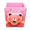 กล่องใส่ดินสอมีคลิปหนีบกระดาษ สีชมพู-ขาว ลายหมี