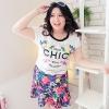 [พร้อมส่ง] เสื้อยืด กระโปรง แฟชั่นเกาหลี คอกลม แขนสั้น พิมพ์ลาย กระโปรง ลายดอกไม้ ไซส์ใหญ่ สำหรับสาวอ้วน สุดชีค - [In Stock] Women Korean Summer Hitz New Large Size Round Neck Short-sleeved Printing Shirt and Floral Skirt.
