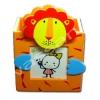 กล่องใส่ดินสอใส่รูปมีคลิปหนีบกระดาษ สีส้ม ลายสิงโต