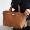 {พร้อมส่ง} กระเป๋าแฟชั่น pgmall ของแท้ 100% ทรงสวยหนังเรียบผสมหนังลายสาน มาพร้อมสายสะพายยาว ขนาดพอเหมาะ สีน้ำตาลอ่อนค่ะ