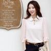 [พรีออเดอร์] เสื้อเชิ้ตทำงานแฟชั่นเกาหลี แขนยาว ประดับลูกไม้ มีโบว์ที่แขน - [Preorder] Women Korean Hitz Slim Lace Chiffon Long-sleeved Female Shirt