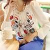 [พร้อมส่ง] เสื้อทำงานแฟชั่นเกาหลี คอกลม แขนยาว พิมพ์ลาย - [In Stock] Women Korean Hitz Slim Round Neck Long-sleeved Printed Shirt