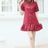 Mom dress เดรสให้นม ทรงเชิ๊ตชายระบาย สีแดงเลือดนก อก 34