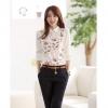 พรีออเดอร์ เสื้อเชิ้ตทำงานแฟชั่นเกาหลี สีขาว แขนยาว คอตุ๊กตา - Preorder Women Korean Hitz Slim Chiffon at Long-sleeved Doll Collar Female Shirt