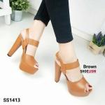 """รองเท้า ส้นสูง สวยปราดเปรียว แบบใหม่สไตล์ Crazy Step ทรงสวยเพรียวเก็บหน้าเท้า หนัง Sofa นิ่ม เสริมหน้า 1"""" เดินสบาย รัดข้อตะขอเกี่ยว ปรับได้ สูง 5"""" สีดำ น้ำเงิน น้ำตาล"""