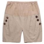 กางเกงคลุมท้องขาสั้นผ้าฝ้ายสีน้ำตาลแต่งกระดุมที่กระเป๋า