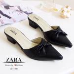 รองเท้าคัทชู เปิดส้น STYLE ZARA เรียบหรู หนังนิ่ม ประดับโบว์น่ารักๆ ทรงสวย มาพร้อมพื้นตีแบรนด์ ZARA สวมใส่ง่าย ใส่ได้เรื่อยๆ ดูดี สูง 2 นิ้ว สีดำ