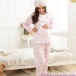 ชุดนอนคนท้องเปิดให้นมสีชมพูแขนยาวกางเกงขายาว
